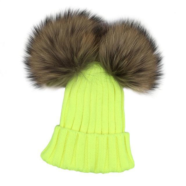 Minibonn Bonnet avec double pompon pour petites filles