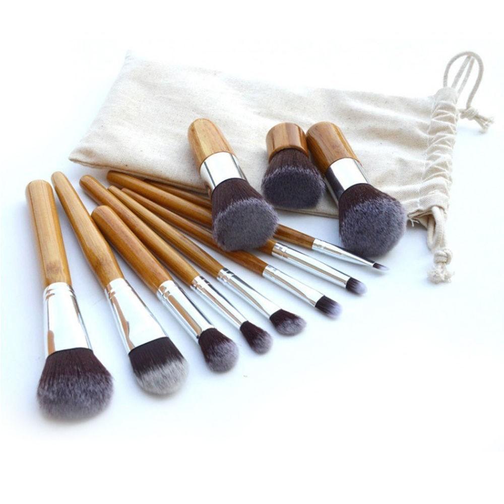 Pinceau de maquillage manches en bambou ( 11 pièces )