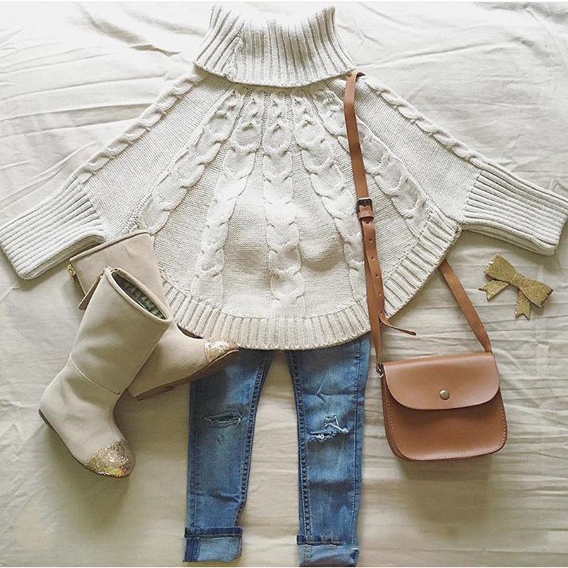 Mini poncho pull cape pour fille