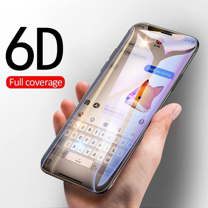 Protège écran 6D en verre trempé pour iPhone