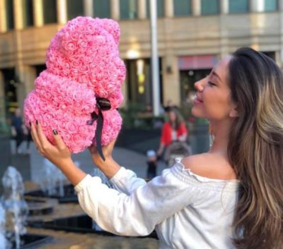 Cadeau Femme - Doudou En Rose: Ourson Fleurs 45cm
