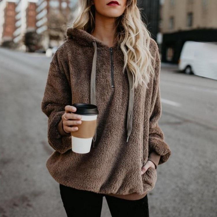 Sweat à capuche polaire pour femme