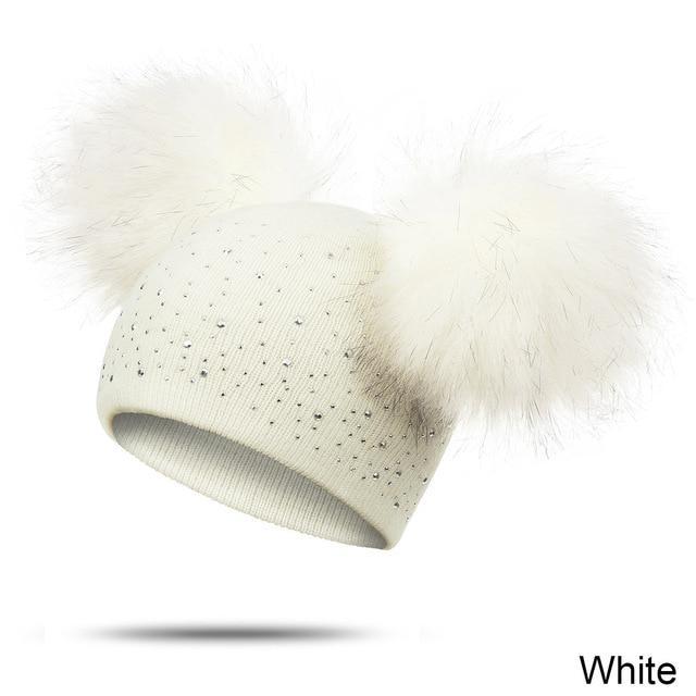 Bonnet Double Pompon Avec Perle