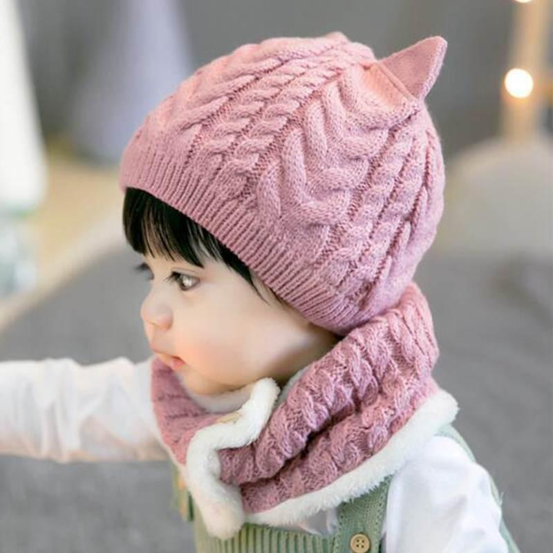 Bonnet Chat Avec Écharpe